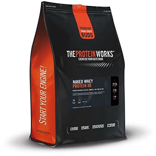 THE PROTEIN WORKS Naked Whey Protein 80 Powder | 100% Natural | With Stevia | Low Fat Shake | Velvet Vanilla | 1 kg