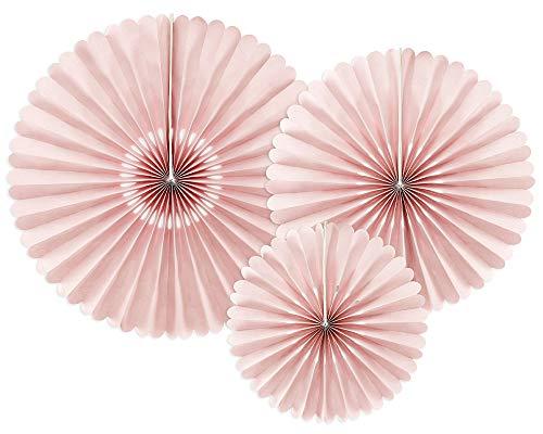 Dekorative Rosetten, 3 Stück, Schmutzig Rosa mit Kerbe, 23-40 cm, Papierrosetten RPK22-081BR