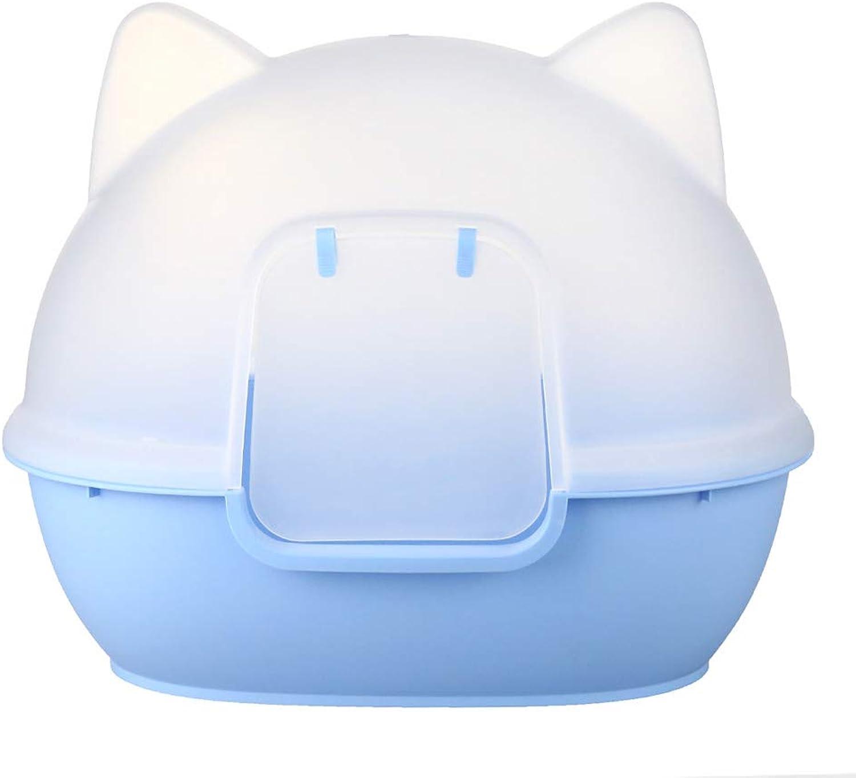 PLDDY Cozy Portable Pet Toilet,Dog Toilet,Cat Litter Box,Cat Potty,PVC Resin Enclosed With Shovel Buckle Safety Detachable Prevent Splash 58×42×53cm (color   Light bluee)