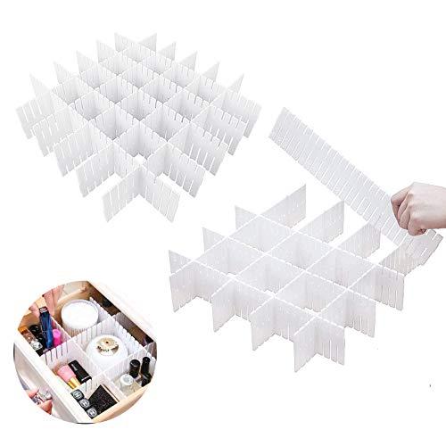 KARAA 16 Pezzi divisore per cassetti, griglia Regolabile divisori per cassetto di plastica Fai da Te Armadio separatore ordinato Contenitore dell'organizzatore, Bianco
