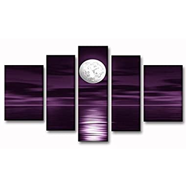 Unixtyle 100% Hand Painted Oil Painting on Canvas Purple Skyline Sea White Full Moon Night Wood Framed Landscape Wall Art Painting Abstract Home Decoration 5 Pcs/set