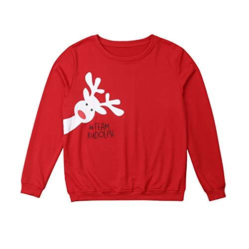 Navidad Sudadera sin Capucha Familiar Disfraz de Padres e Hijos Camiseta de Manga Larga con Patrón de Reno Top Sweatshirt de Cuello Redondo Ropa de Familia Invierno para Fiesta Navidad Casual
