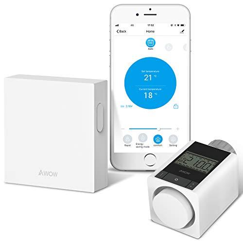 AWOW Smart Home Set thermostat heizung,Inklusive Zigbee Heizkörperthermostat und WIFI Gateway,für alle gängigen Heizkörperventile,Kompatibel mit Alexa, Google Assistant,APP-Fernbedienung