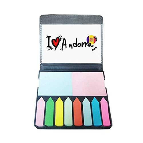 Ik hou van Andorra Woord Vlag Liefde Hart Illustratie Zelf Stick Note Kleur Pagina Marker Box