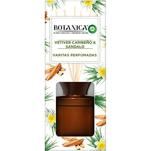Botanica by Air Wick Varitas Perfumadas - Ambientador Mikados, Esencia Para Casa con Aroma a Vetiver Caribeño Y Sándalo - 100 ml
