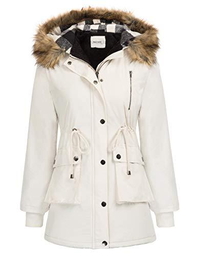 Womens Hooded Winter Thicken Fleece Lined Parkas Long Coats Plus Size Beige 3XL