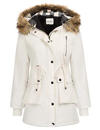 Womens Winter Thick Hooded Warm Coats Parkas with Faux Fur Jackets Beige M