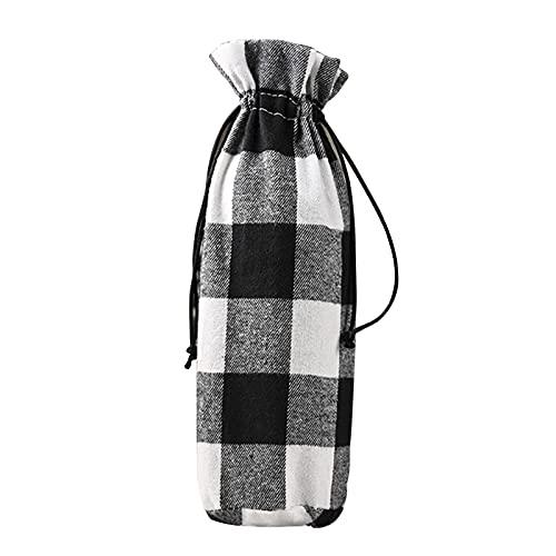 GGkeging 2 bolsas de vino a cuadros, color negro y blanco, con cordón de Navidad, cubierta para botellas de vino rojo, para decoración de mesa de Navidad, decoración de fiestas, decoración