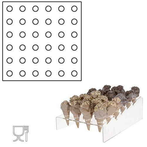 Avà srl Porta Coni Mignon Inclinato da banco in plexiglass Trasparente a 36 Fori - Misure 32 x 32 x H10 cm