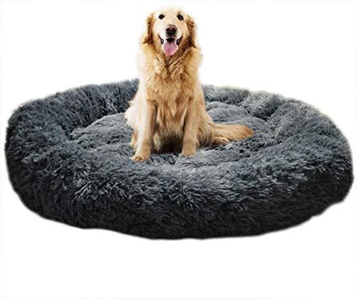 Homay Lit Moelleux Rond pour Chien Extra Large Lavable avec Coussin,Deluxe Panier Chien Coussin Panier Donut lit pour Chien Grande Taille