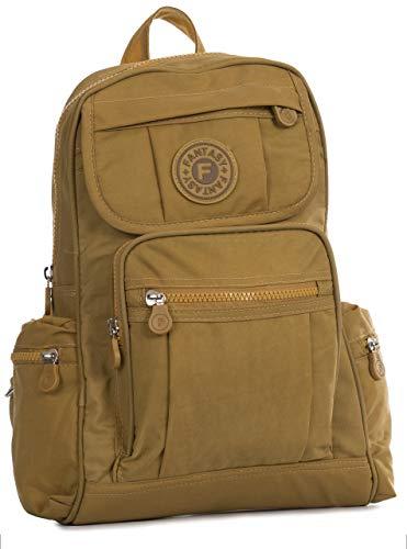 BHBS Unisex Regenfester Stoff, leicht, mehrere Taschen, Reiserucksack mit Aufbewahrungstasche, kleine Größe, Gelb - senfgelb - Größe: Einheitsgröße