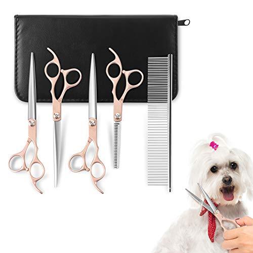 YOUTHINK Tijeras Peluqueria de Perros Aseo para Mascotas Acero Inoxidable 5 Piezas Corte de Pelo de Perro Tijeras Doradas con Peine Kit Profesional para Recortar Mascotas para Perros o Gatos