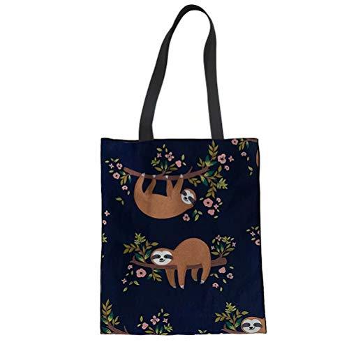 POLERO Stylische geräumige Tragetasche mit Innentasche Baumwolltasche Stofftasche Shopper Handtasche mit Faultier Print für Mädchen Damen