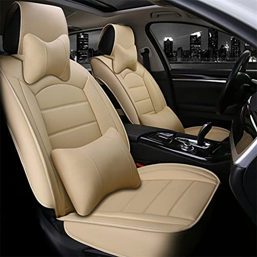 Fundas de asiento de coche de cuero personalizadas para VW para Volkswagen T5 T6 multivan fundas de asiento delantero para todas las estaciones con reposacabezas y cojines lumbares, color beige