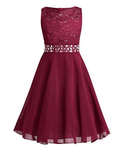 TiaoBug Festlich Mädchen Kleid für Kinder Prinzessin Spitzen Kleider Hochzeit Blumenmädchenkleid 92 104 116 128 140 152 164 Rot 152