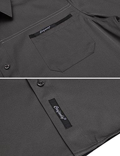 COOFANDY Herren Hemd Slim Fit Langarmhemd Freizeit Kentkragen Sommer Herren Hemden Business Party Shirt Für Männer Grau M - 3