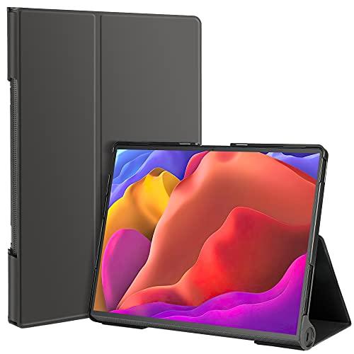 IVSOTEC Funda para Lenovo Yoga Tab 13, Cuero de PU Delgado con función de Soporte,Cubierta Protectora de Moda y práctico para Lenovo Yoga Tab 13 Pulgadas 2021 (YT-K606F), Negro