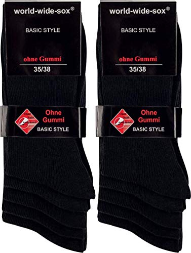 world wide sox | Socken & Strümpfe für Damen | Gerippt Dark Ohne Gummidruck | 10 Paar | schwarz | 39-42