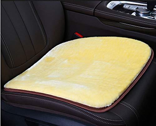 Auto-interieur stoelhoezen, zachte luxe echte wol zitkussen Wintermat universele pasvorm voor comfort in auto, vliegtuig, kantoor of thuis (19,3 inch x 19,3 inch) (beige)