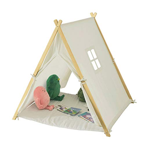 SoBuy® OSS02-W Tente Tipi Enfant pour Garçon et Fille Teepee Tente de Jeu pour Enfants avec Tapis de Sol et...