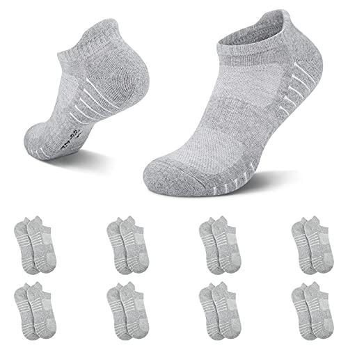 NUOZA Calcetines Hombre Mujer Algodon Deporte Cortos Tobilleros Pack De 8--Gris Claro,43-46
