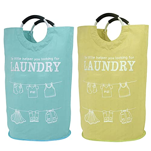 115L 2Pack Large Laundry Hamper ASPURELY Collapsible Large Laundry Basket Foldable Clothes Basket Oxford Fabric Portable Laundry Bin for Bedroom, Bathroom, Laundry Room,Washing Bin