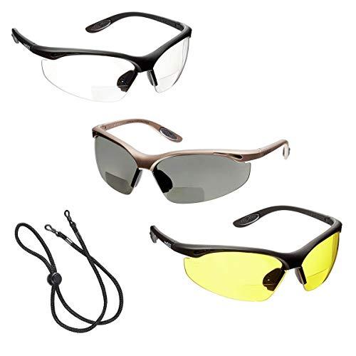 3 x voltX 'Constructor' BIFOKALE Schutzbrille mit Lesehilfe (+1.5 Dioptrie klare, gelbe & polarisiert Scheibe) CE EN166f Zertifiziert/Sportbrille für Radler - enthält Sicherheitsband mit headstop