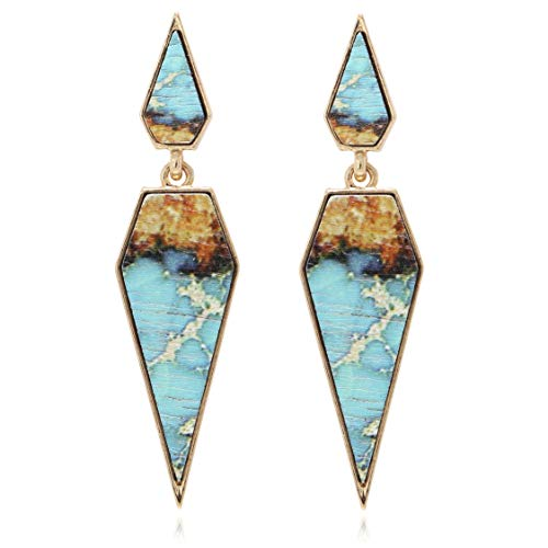 Bohemian Wood And Marble Effect Pentagon Shaped Drop Statement Earrings