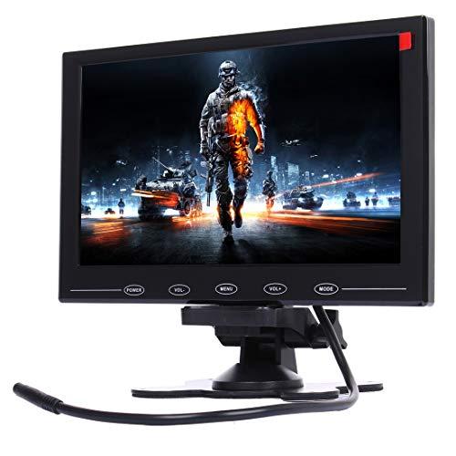 YANTAIAN 9.0 Pulgadas 800 * 480 cámaras de vigilancia del Coche Monitor con Soporte de ángulo Ajustable y Control Remoto, Soporte VGA/HDMI/AV (Color : Black)