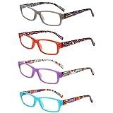 LianSan Readers 4 Pack Spring Hinged Rectangular Reading Glasses Comfort Eyeglasses L3710(+3.75)
