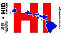 HID ハワイアン ステッカー デカール(HI-ハワイ州) ハワイアン雑貨 ハワイ 雑貨 お土産 (レッド)