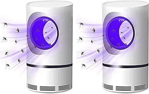 Trampa para Matar Moscas, Mosquitos y Moscas con Luz Ultravioleta Eléctrica, Ventilador de Succión, Sin Zapper, 360 ° Silencioso, Sin Radiación, Carga USB (2 piezas)