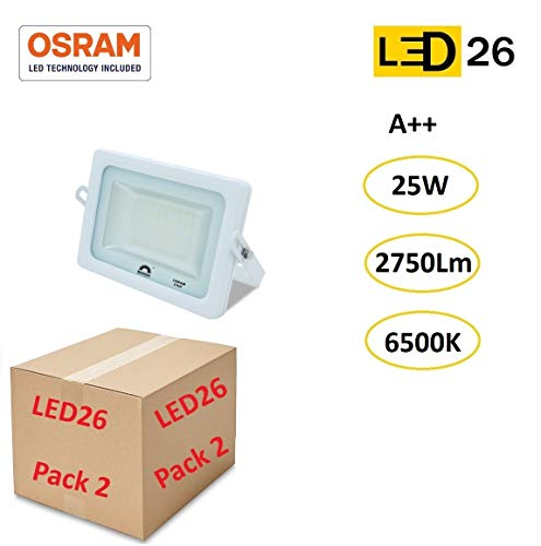 LED26® Exterior Floodlight Led Pack de 2 Focos 25w chip LED OSRAM Proyector Led para Exterior Iluminación Decoración 6500k IP65 Blanco [Clase de eficiencia energética A++]