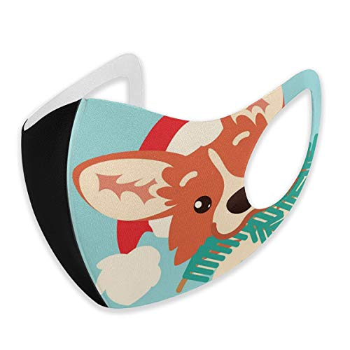 N/A Máscara de polvo decorativa, diseño de perro Corgi en gorro de Papá Noel con máscara de árbol de Navidad, lavable, reutilizable para dos tamaños de S/M, poliéster, negro, Small