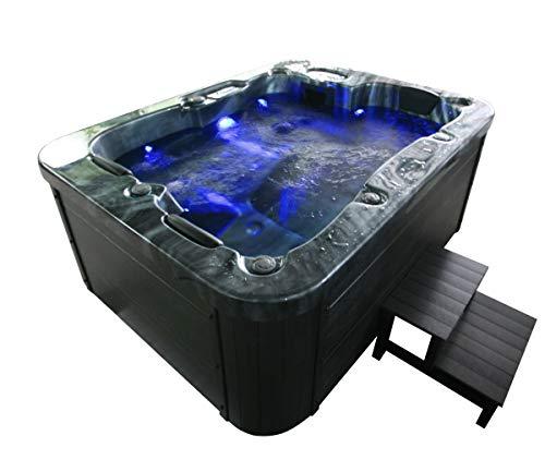 Outdoor Whirlpool Hot Tub Malta Farbe SCHWARZ mit 27 Massage Düsen + WPC Treppe + Heizung + Ozon Desinfektion + LED Beleuchtung für 2 - 3 Personen für Garten / Terrasse / Außen (Mit Einstiegstreppe)