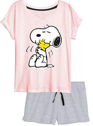 United Labels Snoopy - Pigiama corto da donna Pink Grau L