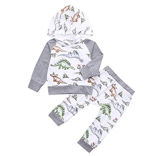 Bébé Enfant Ensembles de Pyjama Manches Sweat-Shirts à Capuche Fille Garçon Cartoon Dinosaure Lettre Imprimé Tops Longues et Pantalons Deux pièces Set Sleepwear Chemises de Nuit Bas Pullover T-Shirts