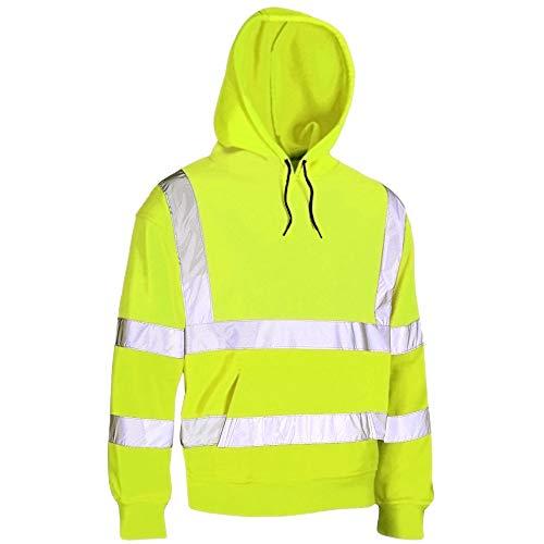 MYSHOESTORE® sweatshirt met capuchon met hoge zichtbaarheid, reflecterende band, werk-sweatshirt, warm fleece schilderteriaö, veiligheidsjas, werkkleding met ritssluiting, oversized