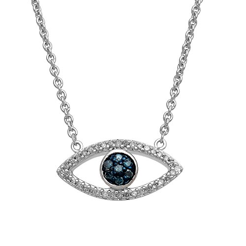 Jewelili Sterling Silver 1/10 Cttw Treated Blue and Natural White Round Diamond Evil Eye Pendant Necklace,17'' Cable Chain