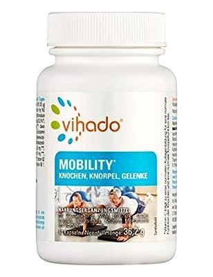 Vihado Mobility Kapseln – Gelenkkapseln für Knochen, Knorpel und Gelenke – Kombipräperat mit Calcium, Glucosamin, Kollagen, Grünlippmuschel, MSM, Weihrauchextrakt u.v.m. – 60 Kapseln
