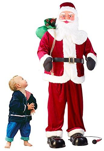 infactory Weihnachtsartikel: Singender und Tanzender XXL-Weihnachtsmann mit Karaoke, 160 cm (Weihnachtsmann mit Bewegungsmelder)