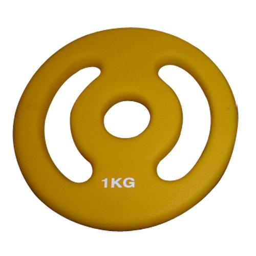 Gamma completa 500 g, 1 kg, 2 kg, 4 kg, 5 kg. Possibilità di formare kit a carico variabile con questi dischi e la barra Nuovi modelli Peso: 1 kg. Colore: giallo. Prodotto venduto all'unità.