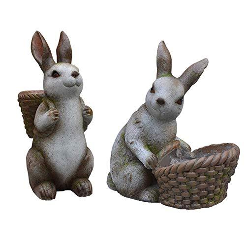 CCAN Maceta, Escultura de decoración de jardín, Escultura de Conejo Maceta Jardín de césped Adorno Creativo Artesanía de Resina 2PCS Interesting Life