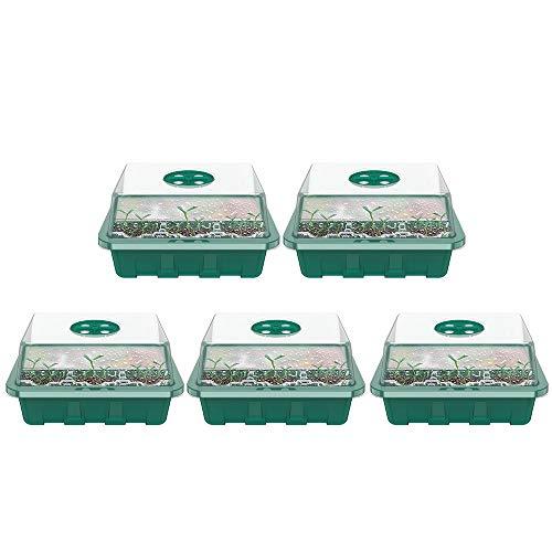 5 x Keimling-Tablett, mit Deckel, für den Innenbereich, Pflanzentöpfe mit je 12 Zellen, Sämlingschalen für Gewächshaus-Pflanzen zum Aussaaten, Keimen, Pflanzenwachstum (grün mit Kuppeldeckeln)