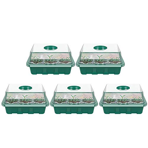 Relax love Zimmergewächshaus Mini Gewächshaus,Anzucht Schale Töpfe Treibhaus Anzucht Greenhouse- Anzuchtschale mit 12 Zellen für Pflanzen,Kräutern,Gemüse,Blumen-5 Stück (Grün)