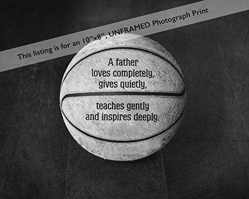 Fathers Day Gifts for Dad from Kids, Basketball Sports Wall Décor, Unique Sports Gifts for Men, Father Poem, Basketball 8x10 Unframed Wall Art Print, Office Sports Art