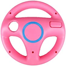 AMEEGO Steering Wheel Design Stand Mario Kart Racing Game Steering Wheel Stand For Wii Game Controller(Pink)