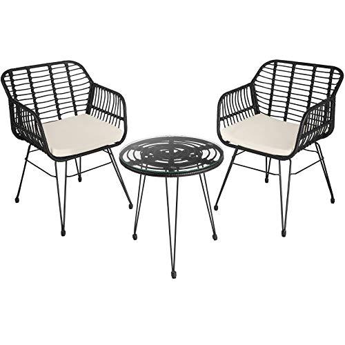 TecTake 800802 Conjunto de jardín, Mobiliario Exterior con Trenzado de poliratán, Juego de Muebles para la terraza, Set de Mesa y sillas de ratán sintético para el Patio (Negro)