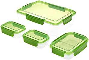 Amazon Brand - Solimo Plastic Rectangular Storage Container Set, Set of 4, Green