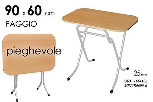 Tavolo tavolino pieghevole richiudibile in ferro e legno naturale 90x60 cm casa campeggio
